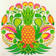 Pineapple Millie Marotta - tropical wonderland #milliemarotta #colouringbook #tropicalwonderland