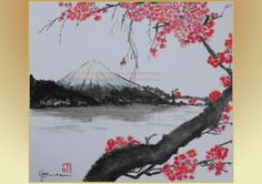 4x6 inch Instant Download Postcard, Plum Blossoms & Mt. Fuji Ink Painting Postcard, Postcard printable, Downloadable Postcard, Lake, Sumi-e by ArtloversHome on Etsy https://www.etsy.com/listing/514279849/4x6-inch-instant-download-postcard-plum