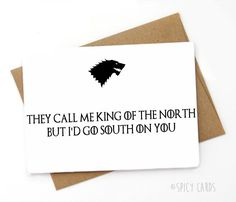 Funny Game of Thrones Valentines Day Card Love card by SpicyCards