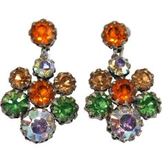 Vibrant Vendome Autumn Coloured Earrings Exclusively at Lee Caplan Vintage Collection  on RubyLane