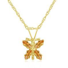 $14.99 - Yellow Gold 1/3 Carat Citrine Dragonfly Pendant
