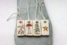 Small Ceramic Yule Christmas Solstice Tags or ornaments