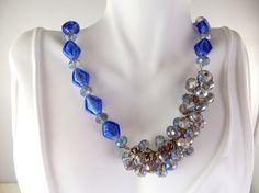 Royal blue beaded jazzy necklace by jewelryandmorebykat on Etsy
