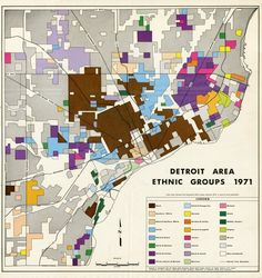 The Detroit Historical Society has so many great maps in their archives! This map is an excellent addition to the series of maps that we have ranging from: Ethnic Migrations in Detroit 1900 - 1950 . Michigan Facts, State Of Michigan, Detroit Michigan, Detroit Neighborhoods, Detroit History, Cross Stitch Fairy, Detroit Area, The Old Days, City Maps