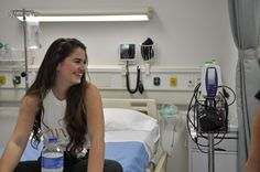 """Behind the scenes with Claire van der Linden (Cailin) in the hospital room! Production photo from """"The Radical Notion of Gene Mutation."""""""