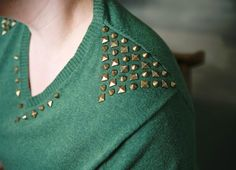 DIY: studded sweater