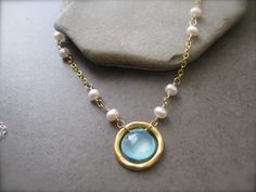 Sea Foam Blue Chalcedony and Pearl Necklace. , via Etsy.