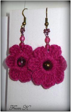 Flower Earrings, Crochet Earrings, Crystal Beads, Crystals, Hand Crochet, Type 3, Facebook, Spring, Simple