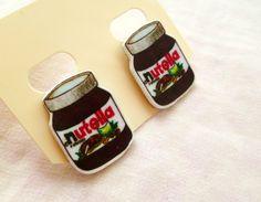 Nutella earrings - silver plated studs, shrink plastic, hand illustrated. £5.99, via Etsy.