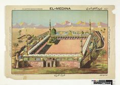 Poster. On paper . General view of El-Medina mosque before a background of mountains and blue sky.