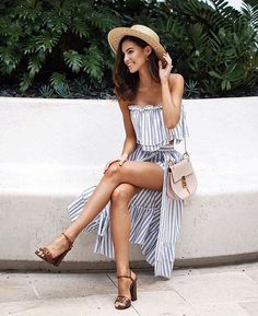 Stripes for Summer!! Striped outfit. Hat. Summer hat. Maxi outfit. Mask skirt.