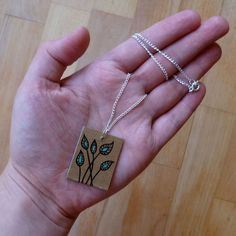 Peacock Plant Bookboard Necklace (hand drawn and made from recycled bookboard)