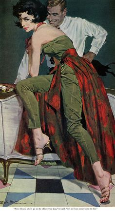 """Robert McGinnis illustration for Jack Finney's """"The Other Wife"""",The Saturday Evening Post, January 301960"""