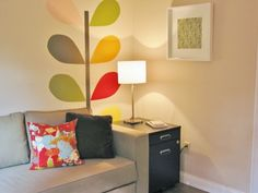 Orla Kiely Linear Stem painted with sample sizes of paint.