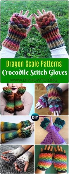 Crochet Dragon Scale Crocodile Stitch Gloves Patterns Tutorials: Dragon tears fingerless gloves, mitts, armwarmers, wrist warmers, cold weather accessory via @diyhowto
