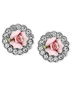 2028 Earrings, Silver-Tone Pink Rose Porcelain Crystal Button Earrings - Fashion Earrings - Jewelry & Watches - Macy's