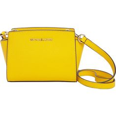 Michael Michael Kors Selma Mini Messenger Crossbody Bag ($133) ❤ liked on Polyvore featuring bags, yellow, michael michael kors, gold cross body bag, crossbody bags, yellow bag and mini bag