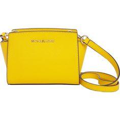 Michael Michael Kors Selma Mini Messenger Crossbody Bag ($133) ❤ liked on Polyvore featuring bags, yellow, michael michael kors, gold cross body bag, crossbody bags, yellow bag and mini bag