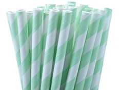 """25 Paper Drinking Straws Mint Green Stripes 7.75"""" Retro Vintage Style Durable"""