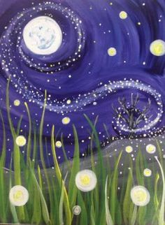 Paint Nite: Discover a new night out and paint and sip wine with friends Paint And Sip, Diy Painting, Painting & Drawing, Firefly Painting, Moon Painting, Firefly Art, Beginner Painting, Kunst Party, Wine And Canvas