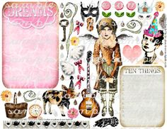 ART TEA LiFE Journal Girl Paper Doll Collage Sheet by onecrabapple, $3.95