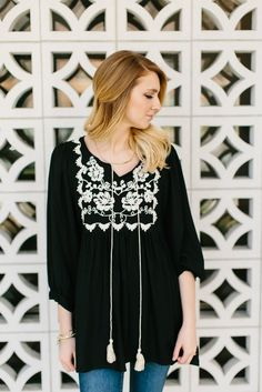 Embroidered Bell Tunic- Black/Ivory  | |  THE ROSE NEST