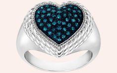 Blue Diamond Heart Ring In Sterling Silver