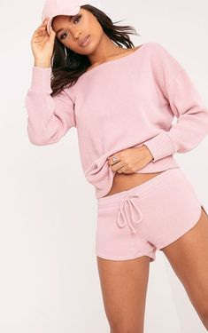 Otaline Pink Short And Jumper Knitted Lounge Set. Shop the range of loungewear today at PrettyLittleThing USA. Express delivery available. Order now Pink Shorts, Loungewear Set, Loungewear Outfits, Lounge Shorts, Jumper, Black Knit, Feminine Style, Mannequin, Outfit