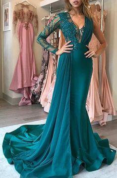 4dc8fbfd67 Sexy Mermaid Detachable Prom Dresses Lace Appliques Deep
