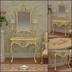 19th c. Period Louis XV Floral Console Table & by WestonMiniature
