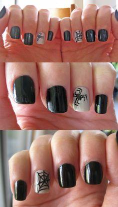 Spider & spiderweb nails for Halloween
