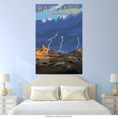 This travel wall decal brings vintage style to your decor with Badlands National Park in South Dakota. The removable wall sticker is made of textured polyester fabric with a glare-free matte finish. Sticks to most flat surfaces in your game room, kids room, or office. Made in the USA with eco-friendly materials. Copyright Lantern Press/artlicensing.com. Available in 12
