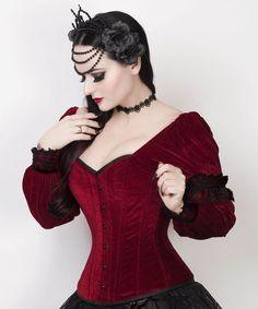Deluxe Vampire Brocade Black Red Goth Corset Women/'s Waist Cincher Up To Size 12