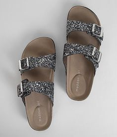 Madden Girl Brando-G Footbed Sandal - Women's Shoes in Black Silver