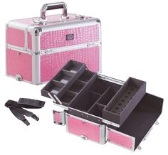 Professional Makeup Case w/ 3 Trays and Nail Polish Organizer  Pink Gator, only $79.95 plus free shipping!