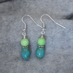 Petite Turquoise Bead Dangle Earrings, Turquoise Earrings, Silver and Turquoise Earrings by GumboStew on Etsy