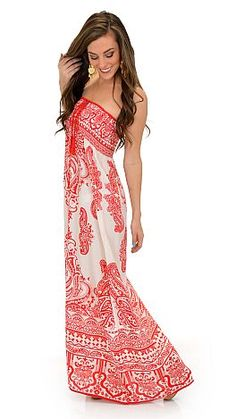 Can't get anymore classic than ivory and red bandana print! $42 at shopbluedoor.com!