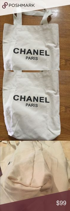 New Chanel Cotton Canvas tote Bag Dust Bag VIP gifts have no serial numbers. New in package but no tags.100%authantic  Brand new in package,not sale in stores  cotton canvas size:16in by 15.5in 11in from bag to middle of strap the logo and words are on both sides Makeup Brushes & Tools