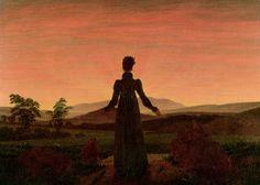 Woman at dawn, 1818-20. Caspar David Friedrich. Oil on canvas (damaged).