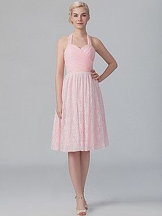 Halter Chiffon Lace Dress; Color: Barely Pink; Sizes Available: 2-26W, Custom Size; Fabric: Lace; Fabric: Chiffon