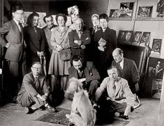 Jean-Paul Sartre, Simone de Beauvoir, Pablo Picasso, Albert Camus and others posing for the camera with Afghan Hound named Kazbek owned by Picasso in Dora Maar, Albert Camus, Pablo Picasso, Jean Paul Sartre, Klimt, Michel Leiris, Brassai, Photo Portrait, Afghan Hound