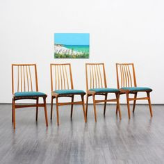Set of four 1950s dining chairs, cherrywood, newly covered - www.velvet-point.com