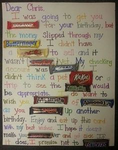 Chocolate Bar Poster Ideas with Clever Sayings Hative Birthday Candy Posters, Candy Birthday Cards, Diy Birthday, Friend Birthday, Birthday Ideas, Grandpa Birthday, Homemade Birthday, Birthday Wishes, Father Birthday