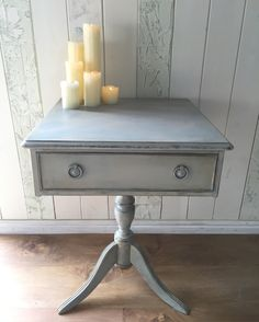 Remploy pedestal table, painted in Annie Sloan Chalk Paint Duck Egg Blue and lightened Country Grey, lightly distressed and waxed to age and seal.