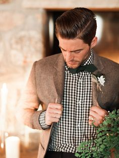 Groom in Gingham with a Bow Tie | Megan Robinson Photography and Leslie Dawn Events | Candlelight Winter Wedding Ideas in Green and White