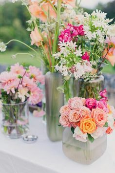 Multi flower cases make great centre pieces