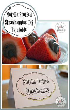 Nutella Stuffed Strawberries Tag Printable