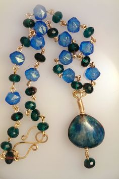 Blue Enamled Clamshell Necklace by SpurwinkRiverArts on Etsy