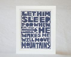 8x10 LET HIM SLEEP Nursery Art Print by rawartletterpress on Etsy, $20.00