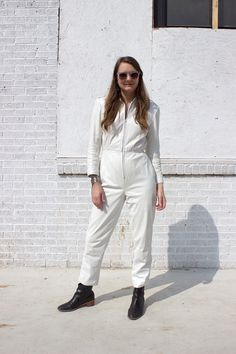 80s White hot leather jumpsuit!